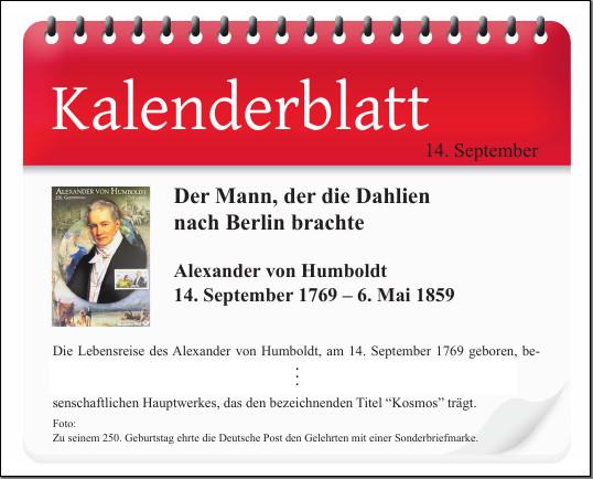 Kalenderblatt: 14. September